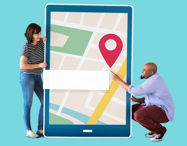 Mapa de navegação gps no dispositivo digital