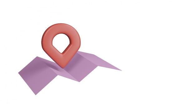 Mapa de papel rosa com ponteiros vermelhos, isolado no fundo branco. renderização em 3d