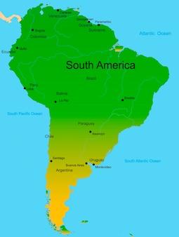 Mapa detalhado do vetor do continente da américa do sul