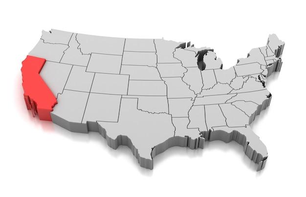 Mapa do estado da califórnia, eua