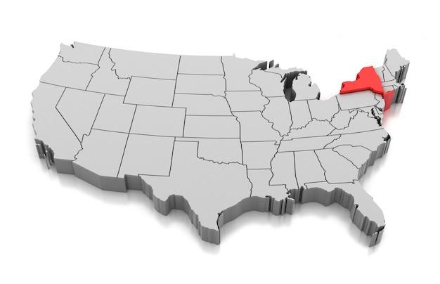 Mapa do estado de nova york, eua