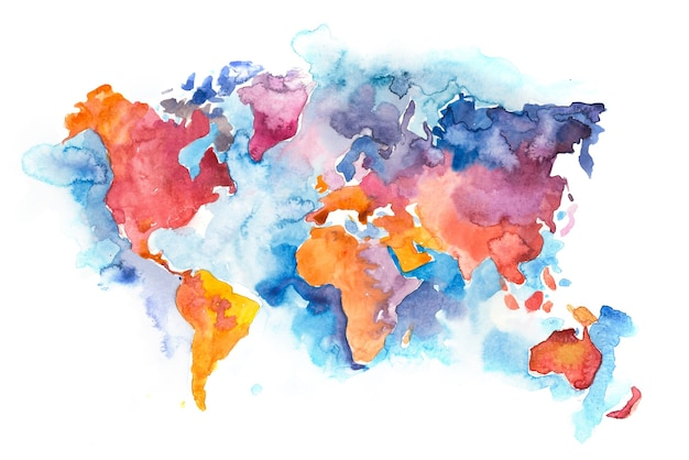 Mapa do mundo com oceanos e mares. aquarela desenhada à mão.