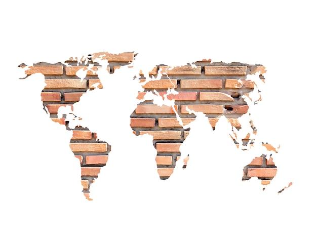 Mapa do mundo concreto grunge na parede de tijolo antigo