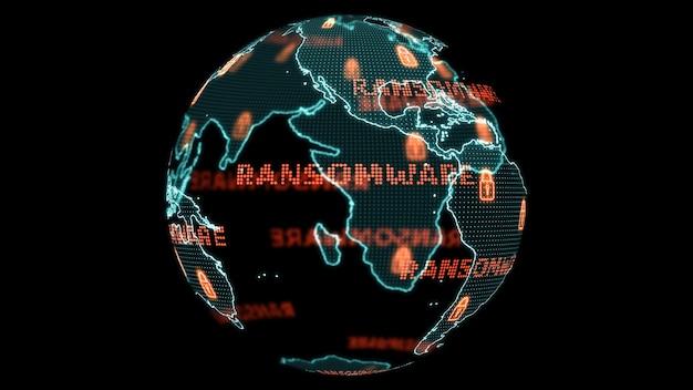 Mapa do mundo digital global e análise de desenvolvimento de pesquisa de tecnologia para ataque de ransomware