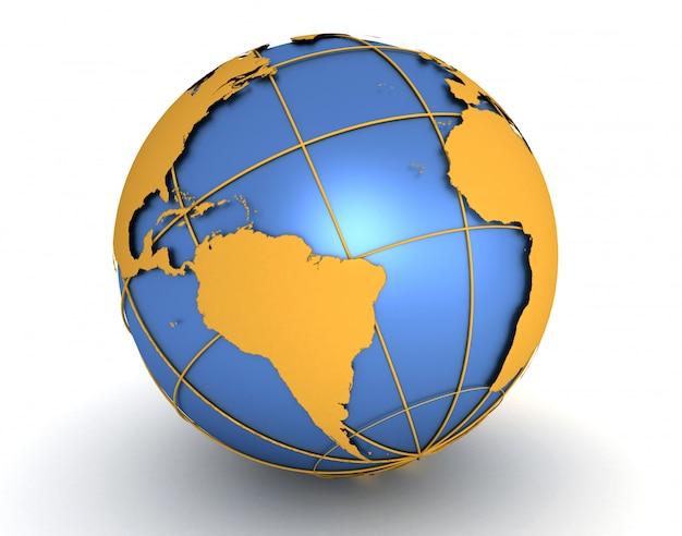 Mapa do mundo e globo. ilustração de renderização 3d