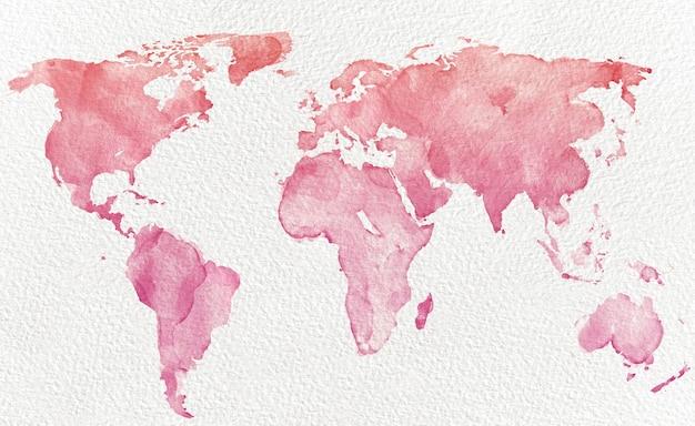 Mapa do mundo em aquarela