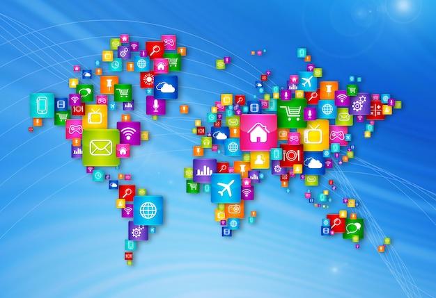 Mapa do mundo voando coleção de ícones do desktop