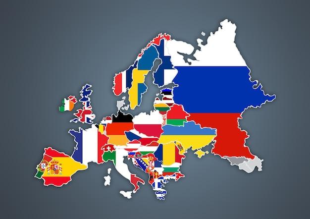 Mapa europeu com fronteiras nacionais com bandeiras de países, em fundo cinza