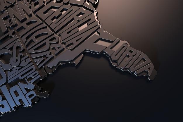 Mapa geográfico dos estados unidos da américa com letras 3d render do território dos eua cartaz de arte tipográfica