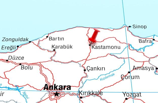 Mapa mostrando kastamonu turquia com uma renderização 3d red pin