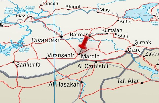 Mapa mostrando mardin, turquia com um alfinete vermelho. renderização 3d