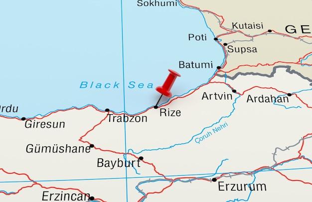 Mapa mostrando rize turkey com uma renderização 3d red pin