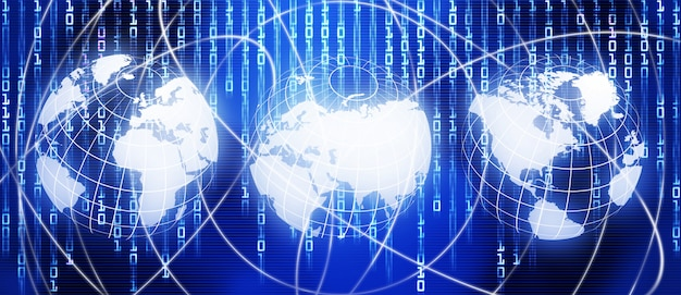 Mapa-múndi brilhante, fundo de tecnologia