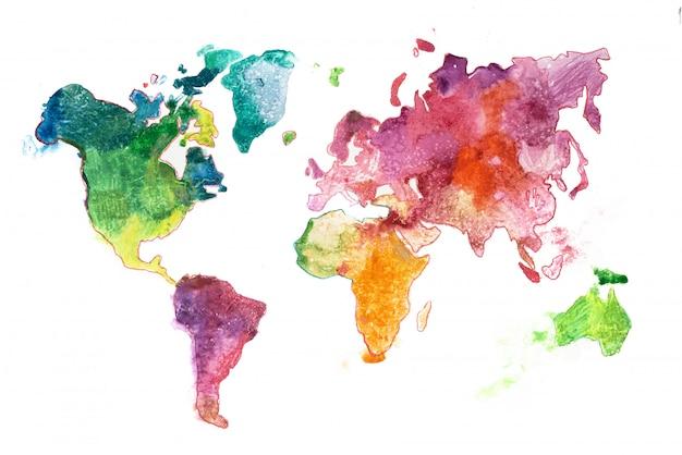 Mapa-múndi colorido pintado em aquarelas