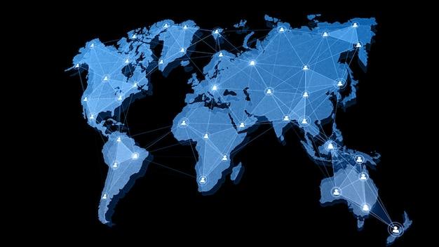 Mapa-múndi de estrutura de conexão de rede com ícone de usuário pessoas