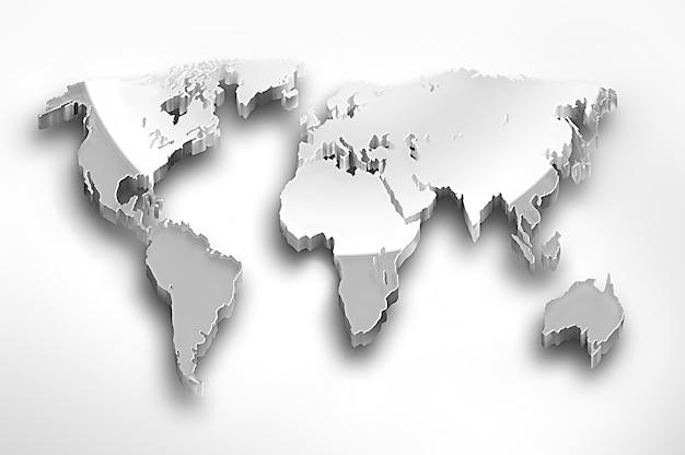 Mapa-múndi de metal em um fundo claro