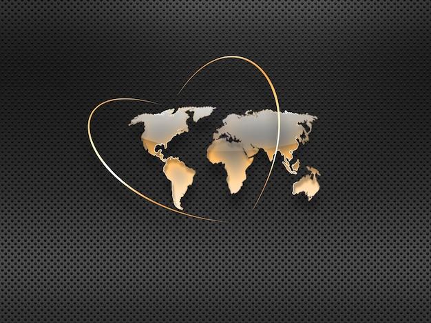 Mapa-múndi de vidro em um fundo metálico escuro