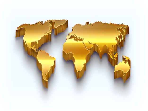 Mapa-múndi dourado sobre fundo claro