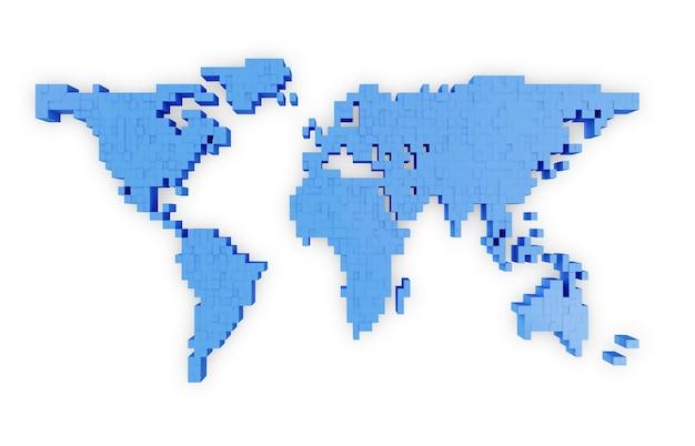 Mapa-múndi em estilo pixel isolado no branco