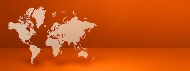 Mapa-múndi isolado em parede laranja