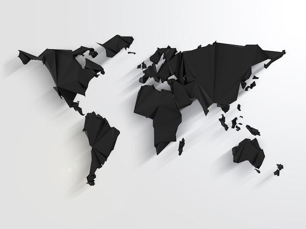 Mapa-múndi preto em estilo origami com sombras longas
