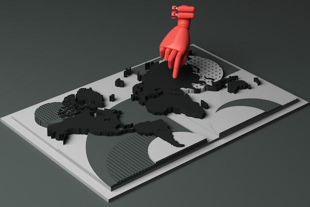 Mapa mundial com a mão humana e a composição abstrata do conceito de bomba de plataformas de formas geométricas em tom preto. renderização 3d