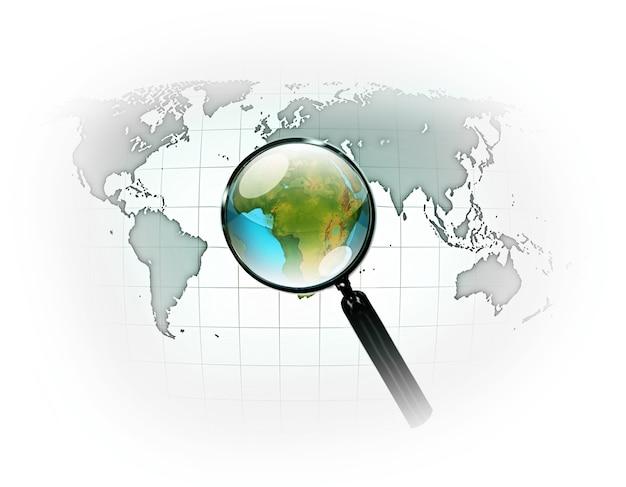 Mapa mundial com lupa