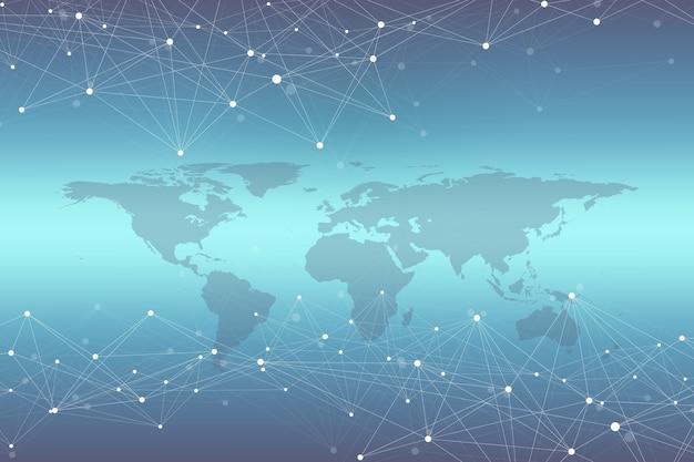 Mapa mundial com o conceito de rede de tecnologia global. visualização de dados digitais. plexo de linhas. comunicação de fundo de big data. ilustração científica.