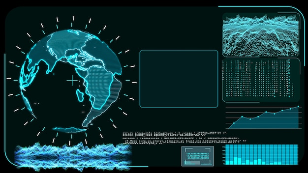 Mapa mundial digital do monitor azul e programa de análise de desenvolvimento de pesquisa de tecnologia