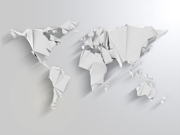 Mapa mundial em estilo origami