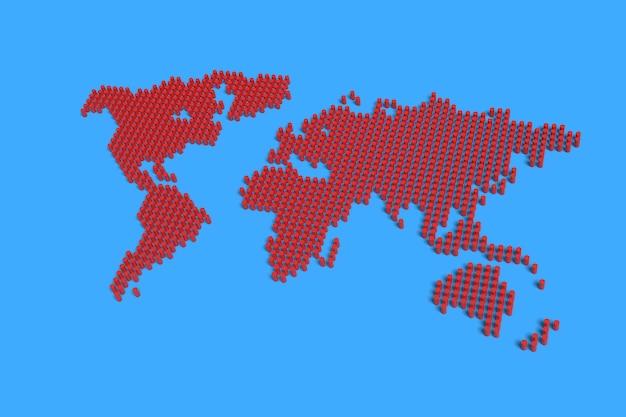Mapa mundial feito de colunas vermelhas.