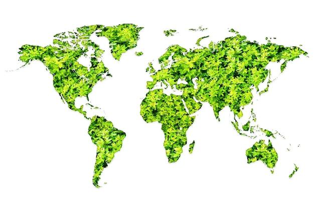 Mapa mundial feito de plantas verdes