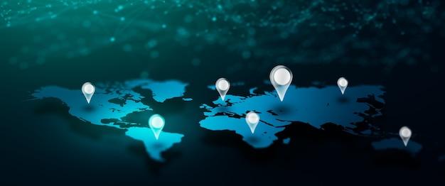Mapa mundial global do ícone de pino de localização geográfica com rede