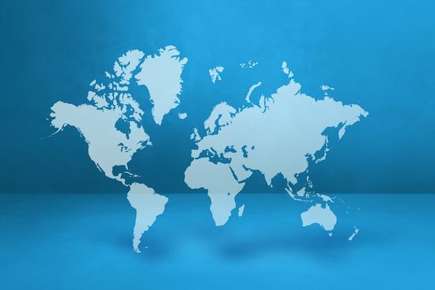 Mapa mundial isolado no fundo da parede azul. ilustração 3d