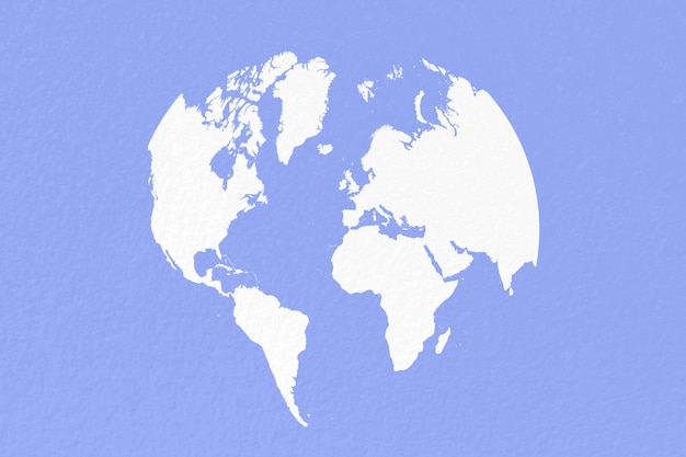 Mapa mundo em fundo de papel branco pastel