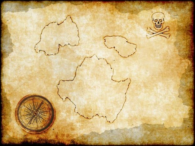 Mapa pirata em tratamento de papel vintage com adição de ruído e arranhões