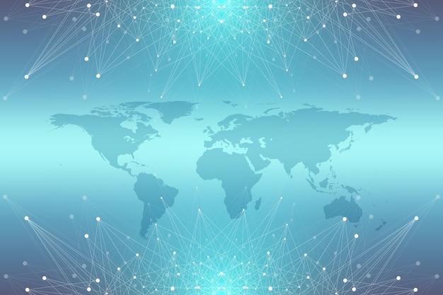 Mapa político do mundo com o conceito de rede de tecnologia global. visualização de dados digitais. plexo de linhas. comunicação de fundo de big data. ilustração científica.