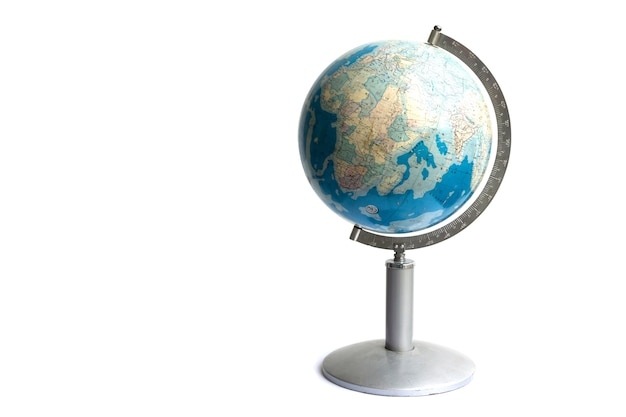 Mapa vintage do mapa mundo globo isolado no fundo branco, objetos cópia espaço