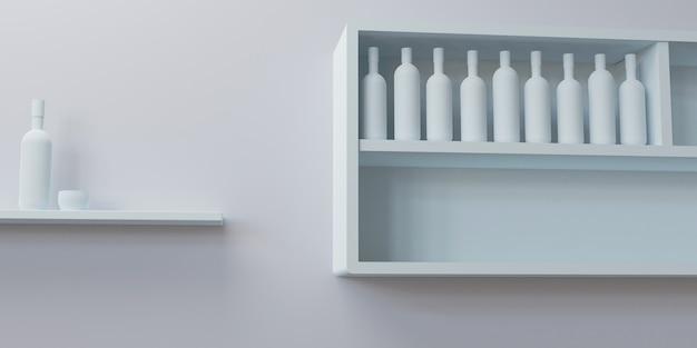 Maquete 3d de cozinha vazia, com ilustração 3d de várias garrafas