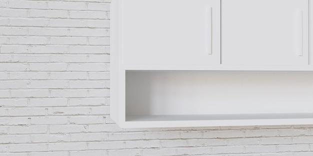 Maquete 3d de cozinha vazia com prateleira vazia, maquete interior