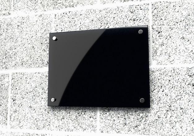 Maquete 3d de design de placa de identificação de vidro em branco
