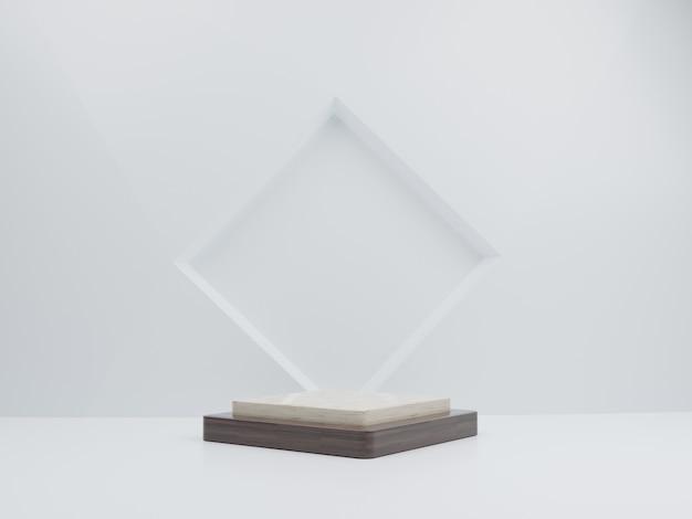Maquete 3d em mármore e pódio de madeira no fundo do retângulo