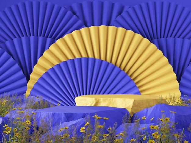 Maquete 3d fundo oriental moderno azul amarelo conceito de cor contraste renderização 3d