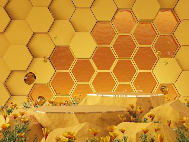 Maquete 3d fundo padrão hexgonal conceito de tom de cor de mel renderização em 3d