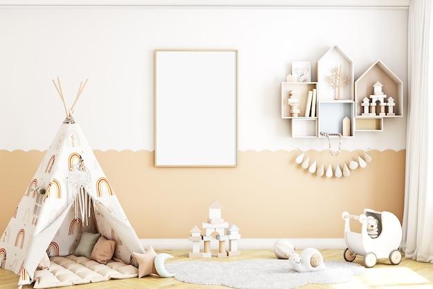 Maquete a4 com moldura para quarto infantil e tenda em estilo boho