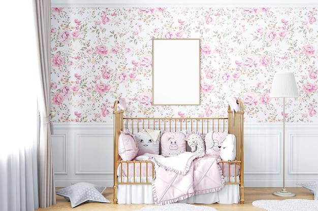 Maquete a4 do quadro do berçário com papel de parede floral