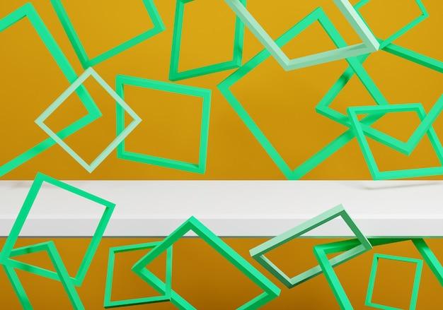 Maquete abstrata de quadros verdes e fundo laranja. renderização 3d