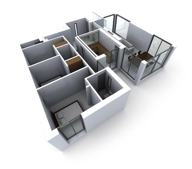 Maquete arquitetônica da casa de um designer