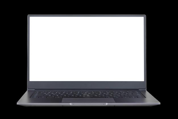 Maquete branca na tela do laptop isolada em um fundo preto close-up vista frontal
