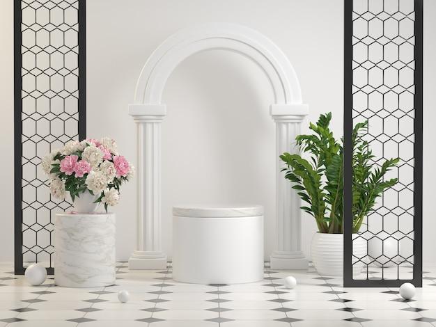 Maquete branco pedestal elegante decoração de cena com plantas e flores